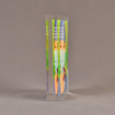 "Side view of 5 1/2"" x 7"" rectangle acrylic embedment award with Accenture sales tool cast into crystal clear acrylic."