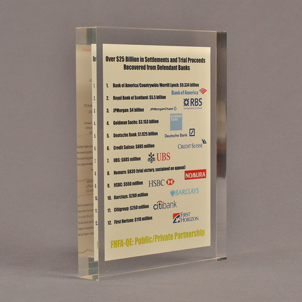 "Angle view of 6"" x 8"" rectangle acrylic embedment award with Over $25 Billion Served message cast into acrylic."