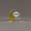 """Front view of ColorCast™ 4"""" Circle Acrylic Award with yellow transparent color highlight showing trophy laser engraving."""