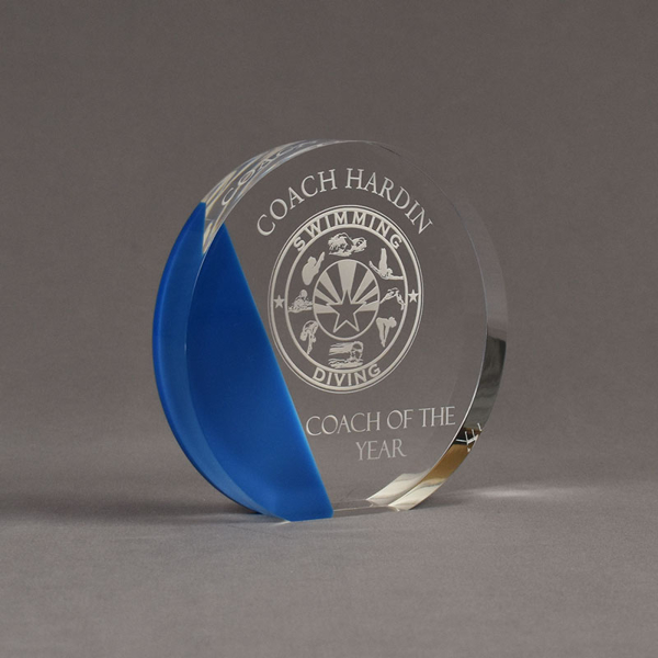"""Angle view of ColorCast™ 6"""" Circle Acrylic Award with transparent blue color highlight showing trophy laser engraving."""