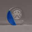 """Front view of ColorCast™ 6"""" Circle Acrylic Award with transparent blue color highlight showing trophy laser engraving."""
