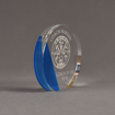 """Side view of ColorCast™ 6"""" Circle Acrylic Award with transparent blue color highlight showing trophy laser engraving."""