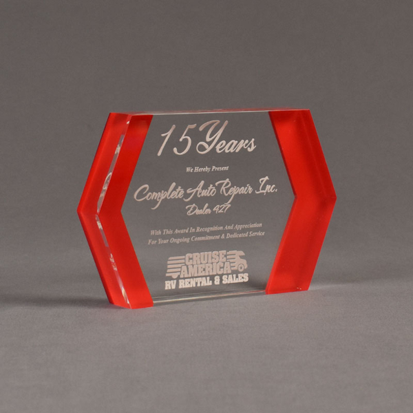 """Angle view of ColorCast™ 7"""" Edges Acrylic Award with red color highlight showing trophy laser engraving."""