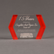 """Front view of ColorCast™ 7"""" Edges Acrylic Award with red color highlight showing trophy laser engraving."""