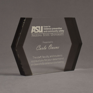 """Angle view of ColorCast™ 9"""" Edges Acrylic Award with transparent grey color highlight showing trophy laser engraving."""