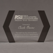 """Front view of ColorCast™ 9"""" Edges Acrylic Award with transparent grey color highlight showing trophy laser engraving."""