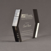 """Side view of ColorCast™ 9"""" Edges Acrylic Award with transparent grey color highlight showing trophy laser engraving."""