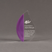 "Front view of ColorCast™ 6"" Flame Acrylic Award with purple glitter color highlight showing trophy laser engraving."