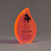 """Angle view of ColorCast™ 7"""" Flame Acrylic Award with full back orange neon color highlight showing laser engraving."""