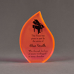 """Front view of ColorCast™ 7"""" Flame Acrylic Award with full back orange neon color highlight showing laser engraving."""