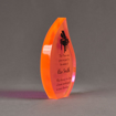"""Side view of ColorCast™ 7"""" Flame Acrylic Award with full back orange neon color highlight showing laser engraving."""
