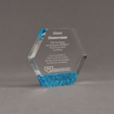 """Angle view of ColorCast™ 5"""" Hexagon Acrylic Award with blue glitter color highlight showing trophy laser engraving."""
