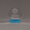 """Front view of ColorCast™ 5"""" Hexagon Acrylic Award with blue glitter color highlight showing trophy laser engraving."""