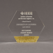 """Front view of ColorCast™ 6"""" Hexagon Acrylic Award with gold glitter color highlight showing trophy laser engraving."""
