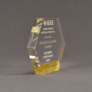 """Side view of ColorCast™ 6"""" Hexagon Acrylic Award with gold glitter color highlight showing trophy laser engraving."""