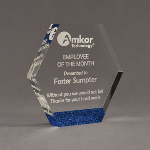 """Angle view of ColorCast™ 7"""" Hexagon Acrylic Award with royal blue glitter color highlight showing trophy laser engraving."""