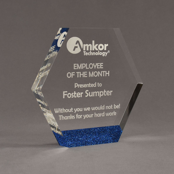 "Angle view of ColorCast™ 7"" Hexagon Acrylic Award with royal blue glitter color highlight showing trophy laser engraving."