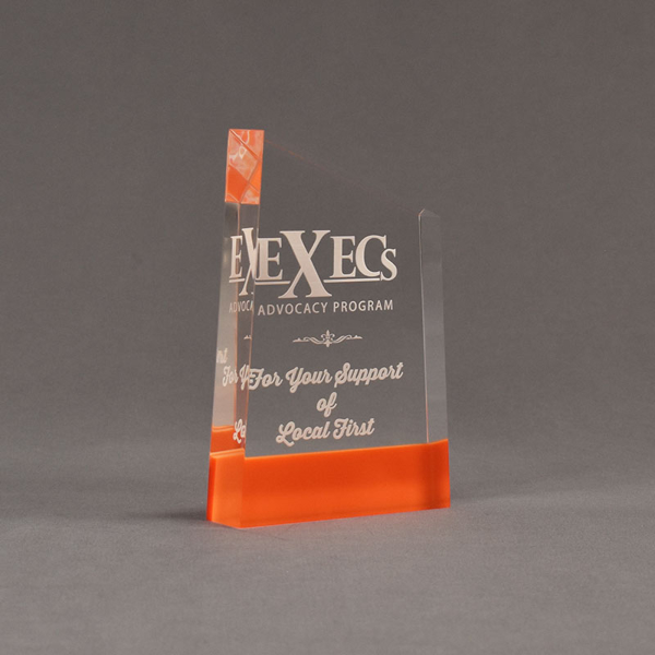 "Angle view of ColorCast™ 6"" Meridian Acrylic Award with orange color highlight showing trophy laser engraving."