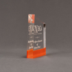 "Side view of ColorCast™ 6"" Meridian Acrylic Award with orange color highlight showing trophy laser engraving."