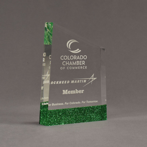 """Angle view of ColorCast™ 7"""" Meridian Acrylic Award with green glitter color highlight showing trophy laser engraving."""