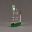 """Side view of ColorCast™ 7"""" Meridian Acrylic Award with green glitter color highlight showing trophy laser engraving."""