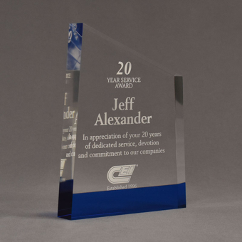 """Angle view of ColorCast™ 8"""" Meridian Acrylic Award with transparent blue color highlight showing trophy laser engraving."""