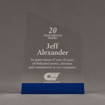 """Front view of ColorCast™ 8"""" Meridian Acrylic Award with transparent blue color highlight showing trophy laser engraving."""