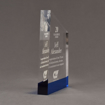 """Side view of ColorCast™ 8"""" Meridian Acrylic Award with transparent blue color highlight showing trophy laser engraving."""