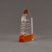 """Side view of ColorCast™ 6"""" Obelisk Acrylic Award with transparent orange color highlight showing trophy laser engraving."""