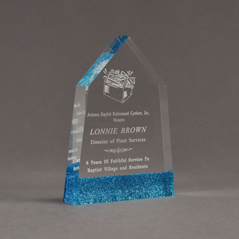 """Angle view of ColorCast™ 7"""" Obelisk Acrylic Award with transparent blue glitter color highlight showing trophy laser engraving."""