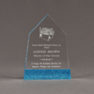 """Front view of ColorCast™ 7"""" Obelisk Acrylic Award with transparent blue glitter color highlight showing trophy laser engraving."""