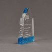 """Side view of ColorCast™ 7"""" Obelisk Acrylic Award with transparent blue glitter color highlight showing trophy laser engraving."""