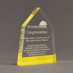 """Angle view of ColorCast™ 8"""" Obelisk Acrylic Award with light yellow color highlight showing trophy laser engraving."""