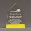 """Front view of ColorCast™ 8"""" Obelisk Acrylic Award with light yellow color highlight showing trophy laser engraving."""