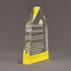 """Side view of ColorCast™ 8"""" Obelisk Acrylic Award with light yellow color highlight showing trophy laser engraving."""