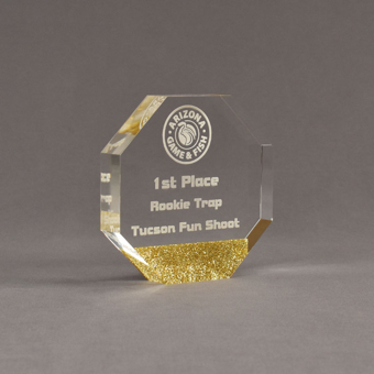 """Angle view of ColorCast™ 5"""" Octagon Acrylic Award with gold glitter color highlight showing trophy laser engraving."""
