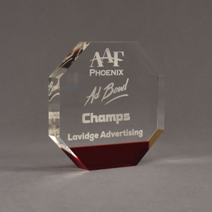 """Angle view of ColorCast™ 6"""" Octagon Acrylic Award with transparent burgundy color highlight showing trophy laser engraving."""