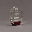 """Side view of ColorCast™ 6"""" Octagon Acrylic Award with transparent burgundy color highlight showing trophy laser engraving."""