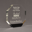 """Angle view of ColorCast™ 7"""" Octagon Acrylic Award with black color highlight showing trophy laser engraving."""