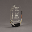 """Side view of ColorCast™ 7"""" Octagon Acrylic Award with black color highlight showing trophy laser engraving."""