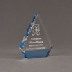 "Angle view of ColorCast™ 6"" Peak Acrylic Award with transparent light blue color highlight showing trophy laser engraving."