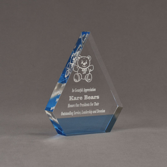 """Angle view of ColorCast™ 6"""" Peak Acrylic Award with transparent light blue color highlight showing trophy laser engraving."""