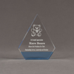 "Front view of ColorCast™ 6"" Peak Acrylic Award with transparent light blue color highlight showing trophy laser engraving."
