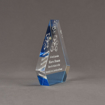 "Side view of ColorCast™ 6"" Peak Acrylic Award with transparent light blue color highlight showing trophy laser engraving."