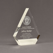 "Angle view of ColorCast™ 7"" Peak Acrylic Award with transparent white color highlight showing trophy laser engraving."