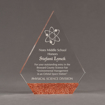 """Front view of ColorCast™ 8"""" Peak Acrylic Award with transparent copper glitter color highlight showing trophy laser engraving."""