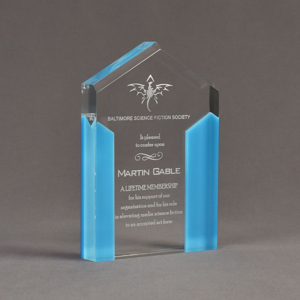 """Angle view of ColorCast™ 6"""" Pillars Acrylic Award with light blue color highlight showing trophy laser engraving."""
