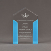 """Front view of ColorCast™ 6"""" Pillars Acrylic Award with light blue color highlight showing trophy laser engraving."""