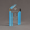 """Side view of ColorCast™ 6"""" Pillars Acrylic Award with light blue color highlight showing trophy laser engraving."""