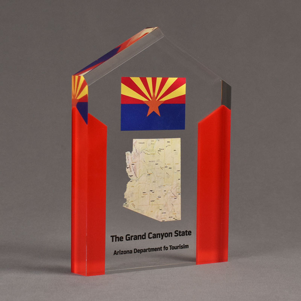 """Angle view of ColorCast™ 7"""" Pillars Acrylic Award with red color highlight showing full color imprint."""